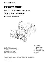 Craftsman Lt1000 Drive Belt Size by Craftsman Snow Blower 486 2484 User Guide Manualsonline Com