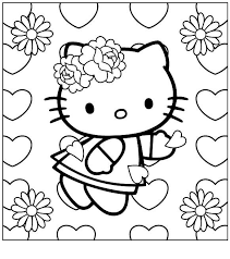 I Have Download Hello Kitty Wearing A Ribbon Flower Coloring Page