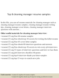 Top 8 Cleaning Manager Resume Samples In This File You Can Ref Materials For
