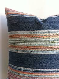e Indigo Stripe Designer Zipper Pillow Cover 18x18 by Pillomatic