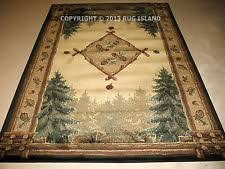 Lodge Log Cabin Pine Pinecone Forest Rustic Green Area Rug FREE SHIPPING