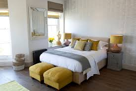 Yellow Cashmere Throw With Themed Decorative Pillows Bedroom Beach Style And Black Radiator