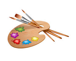Paint Pallet With And Paintbrushes