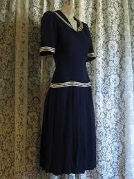 Rare VINTAGE 1920s 1930s Navy Blue Rayon Crepe SAILOR GIRL DRESS
