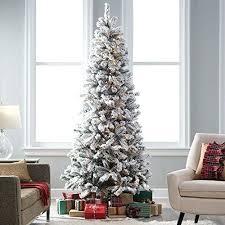 7 Foot Slim Christmas Trees Ft Lit Flocked Tree 1 2 Pre