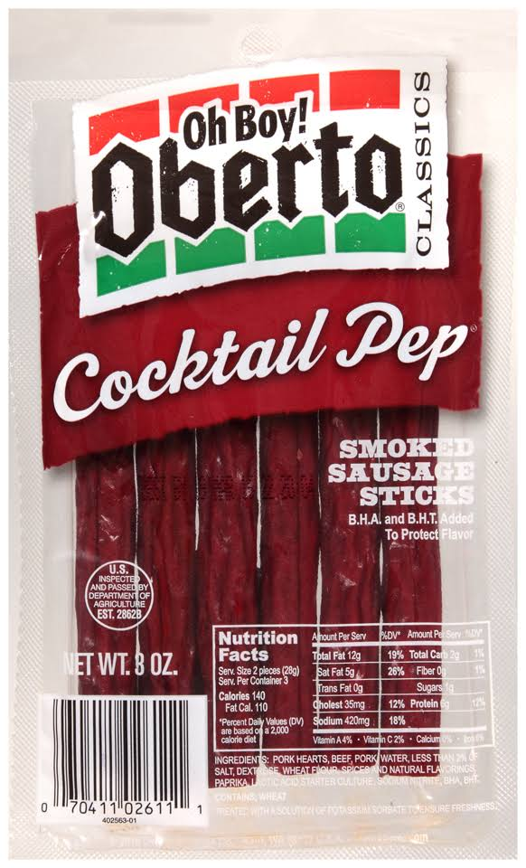 Oh Boy! Oberto Cocktail Pep Smoked Sausage Sticks - 3 oz