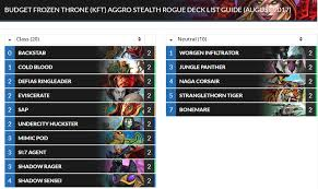 hearthstone knights of the frozen throne budget decks roffle net