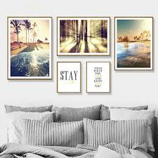 home decor poster leinwand malerei wand kunst skandinavischen wald sunset meer strand nordic für wohnzimmer modulare bilder druc