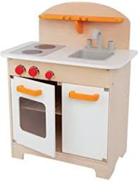 amazon com hape gourmet fridge wooden play kitchen set toys games