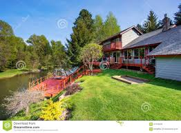 100 River Side House Beautiful Side With Red Deck Stock Image Image