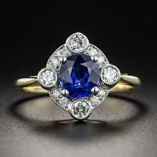 152 Carat Sapphire Diamond Platinum And 18K Vintage Style Ring