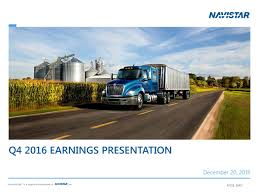 Navistar International Corporation 2016 Q4 - Results - Earnings Call ... Intertional Produces First Tractors With A26 Engines Carrier Centers Navistar Cars For Sale Ausa 2016 Defense Heavy Dump Truck Quirement Proposal Navistars Project Horizon Truck At The 2013 Mid America Trucking S Series Wikipedia Prostar Es Available General Motors Believed Ready To Announce Commercialtruck Venture Filestrongpak Utilimaster Delivery Truckjpg Wikimedia Gm Partnership Could Spell End Terrastar Caterpillar Part Ways On Vocational Trucks Cstruction