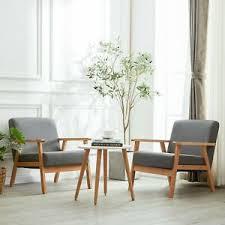 details zu dorafair 2er retro sessel stuhl grau lounge sessel mit massivholz für wohnzimmer