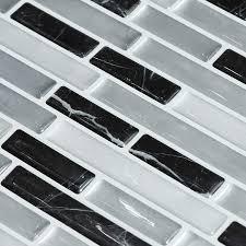 decalmile 10 stück 3d fliesenaufkleber 28cm x 23 5cm schwarz silber mosaik marmor selbstklebende wandfliesen fliesensticker küche esszimmer bad