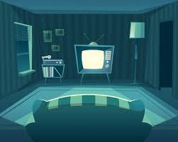 wohnzimmer in der nacht frontansicht sofa zu
