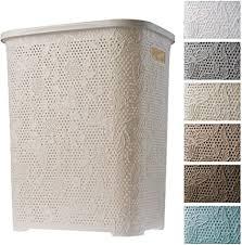 kadax wäschekorb wäschetruhe mit deckel aus kunststoff wäschesammler wäschesortierer für bad kleidung spielzeug verzierungen durchbrochenes