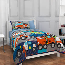 White Table Lamp On The Desk Beside Girl Fire Truck Bedding It Also ...