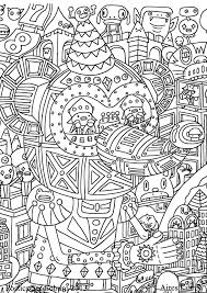 Free Coloring Page Strange And Rich Drawing Representing A Sort Of Robotic Disney Mickey Mouse Led By Funny Characters