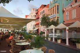 Caribbean Netherland Antilles Curacao Willemstad UNESCO World Heritage Site Punda Dutch Colonial Architecture And Outdoor Cafes