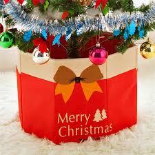 30X36cm Christmas Tree Foot Box Ornaments Bottom Xmas Party Decoration Storage Linen Holiday DIY