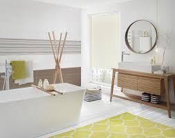 bad badezimmer modern gelb weiß natur fliesen