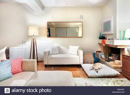 ein modernes wohnzimmer mit zwei sofas spiegel eine große