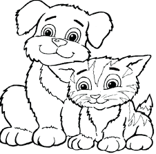 Printable Coloring Pages Dogs And Puppies Color Cats Cat Dog Cute Page Colouring Full Size