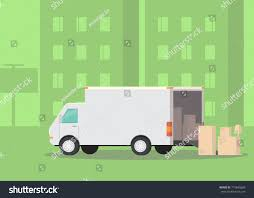 100 Moving Truck Company Cardboard Boxes On Street Stock Vector Royalty Free