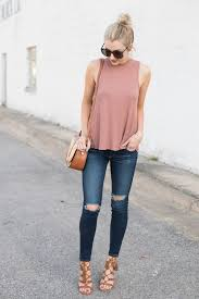 Ripped Jeans A Pink Top Tan Heels