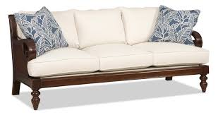 Sam Moore Leather Sofa by Sam Moore Tailynn Tropical Sofa With Exposed Wood And Scrolled
