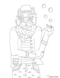 Download Here Hipster Cat Coloring Book Page