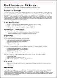 Head Housekeeper CV Sample