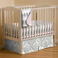 Pink and Gray Elephants Mini Crib Bedding