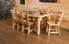 Rustic White Cedar Log 84 Dining Table Set With 8 Chairs