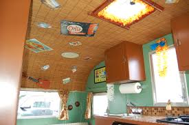 Picture Of 1960 Aloha 15ft Travel Trailer Decorated With Bamboo Mat Ceiling And Hawaiian Retro Accessories