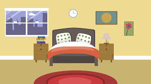 cartoon modern colorful bedroom animation with space for your text