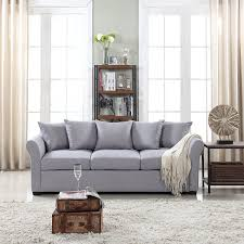 100 Modern Sofa For Living Room Details About Grey Couch Comfortable Linen Fabric 3 Seater Design