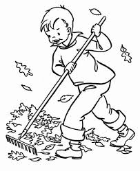 A Boy Clean Up Autumn Leaf Coloring Page