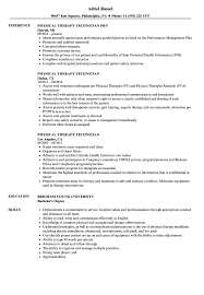 Download Physical Therapy Technician Resume Sample As Image File