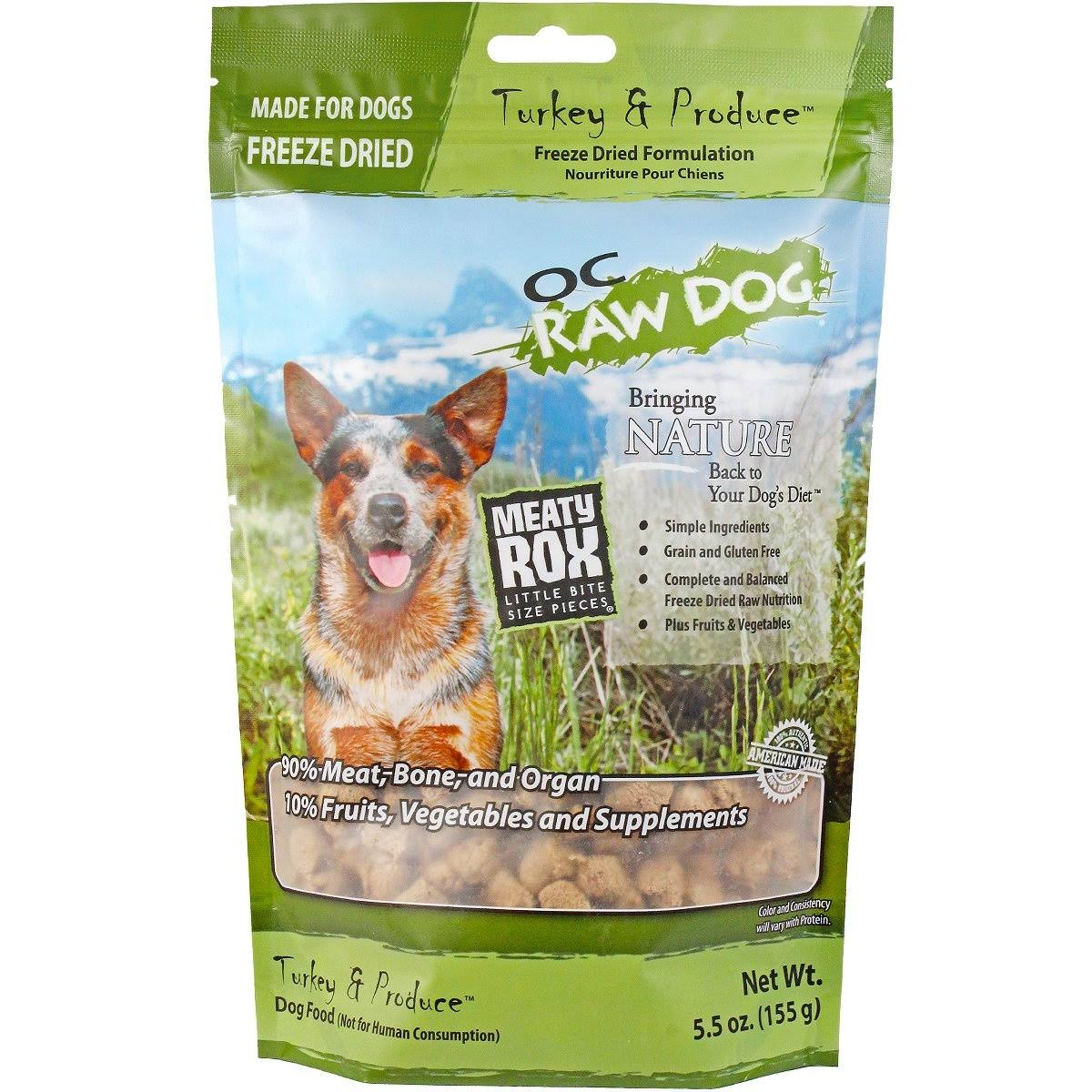 OC Raw Dog Freeze Dried Meaty Rox, Turkey, 5.5 oz