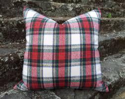 White Red Wool Plaid Pillows Christmas Pillow Cover READY TO SHIP Stewart Tartan