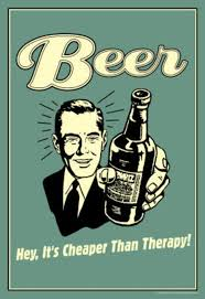 Beer Cheaper Than Therapy Funny Retro Poster Masterprint