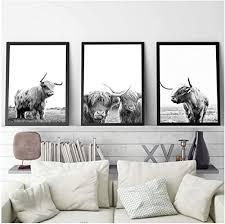 juabc freiheit hochlandrind poster und drucke schwarz weiß wandkunst leinwand malerei kuh wandbilder für wohnzimmer kunst decoration 50x70cmx3 kein