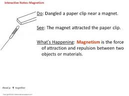 Copyright C 2012 InteractiveScienceLessons Do Dangled A Paper Clip Near Magnet