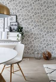 esszimmer tapete blumenmuster im skandinavischen stil weiß grau und rosa 139081