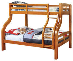 solpine twin over full oak finish curved wood design solid wood