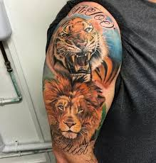 Hyper Realistic Lion And Tiger Half Sleeve Tattoo With Names