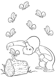 Curious George With Butterfly Printable Coloring Pages