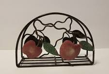 Apple Metal Napkin Holder Rustic Look Excellent Condition