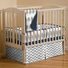 Navy and Gray Elephants 3 Piece Mini Crib Bedding Set